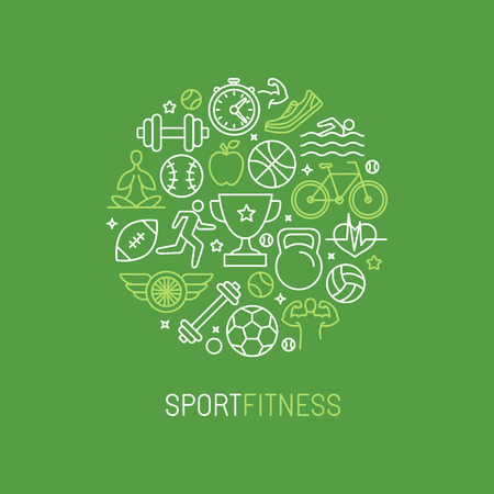 Vector linear sport and fitness design template - emblem in trendy mono line style for gyms and clubs