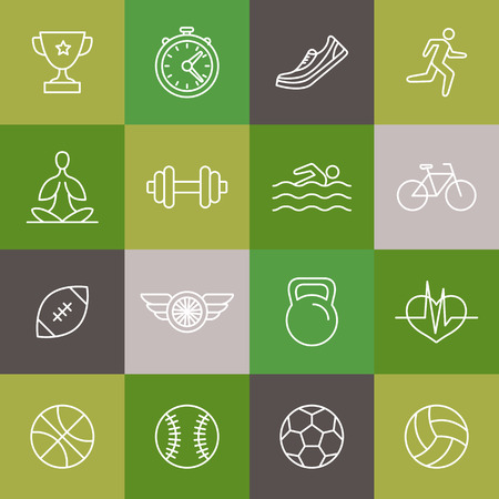 triathlon: Vector linear sport and fitness icons and signs - healthy lifestyle concept in trendy outline style