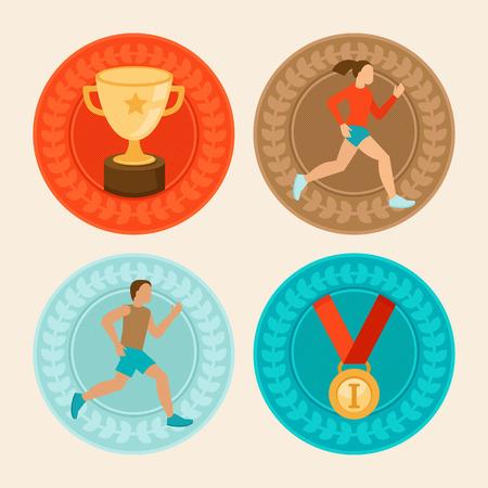 フラット スタイル - マラソン アイコンやサイン - 男性と女性ランナーにおけるベクトル業績バッジ