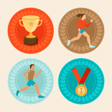 marathon running: Vector achievement badges in flat style - marathon icons and signs - female and male runners