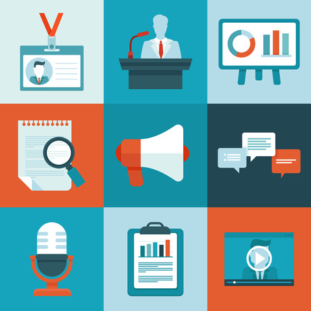 participant: Vector conference icons in flat style - business signs and symbols