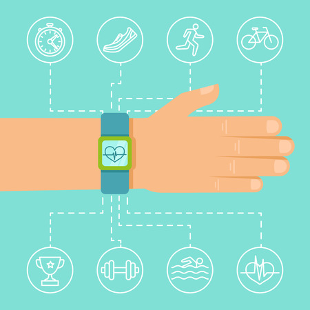sports app: Vector fitness app and tracker on the wrist - sport illustration in flat style with linear icons
