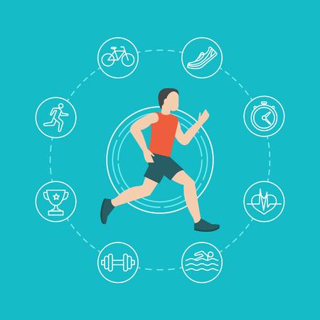 silueta hombre: Vector correr y trotar infograf�a concepto en estilo plano con iconos lineales