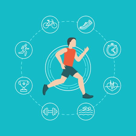 running fast: Vector running and jogging infographics concept in flat style with linear icons Illustration