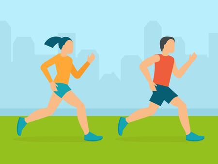 marathon: Vector man and woman running marathon - illustration in flat style Illustration