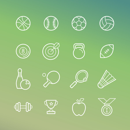 badminton sport symbol: Vector linear sport and fitness icons - signs in outline style on green background
