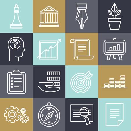 estrategia: Vector estrategia de negocios en estilo lineal - signos abogado y documentos