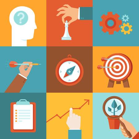 productividad: Estrategia Vector concepto en plana estilo de moda - plan y tácticas