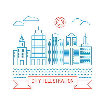 buidings: Vector city illustration in linear style - buidings and clouds - graphic design template Illustration
