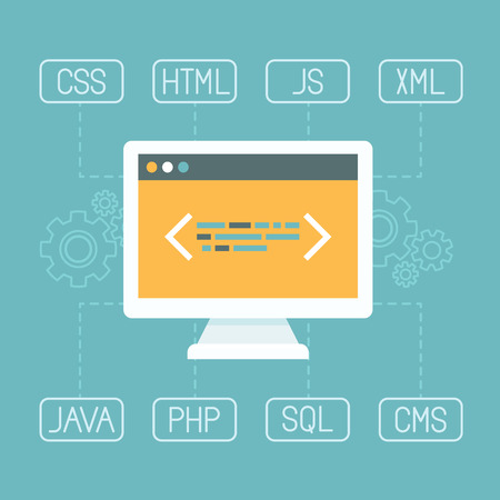 cms: Vector web development concept in flat style - programming and coding concept - internet tecgnologies