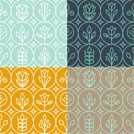 Vector mono line graphic design templates - decorative backgrounds with simple linear patterns