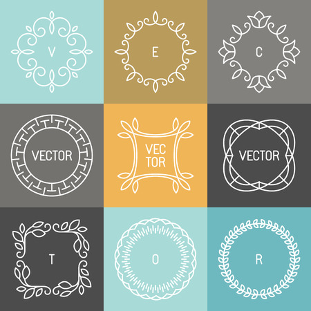 mono: Vector set of trendy icon design elements in mono line style - hipster frames and backgrounds