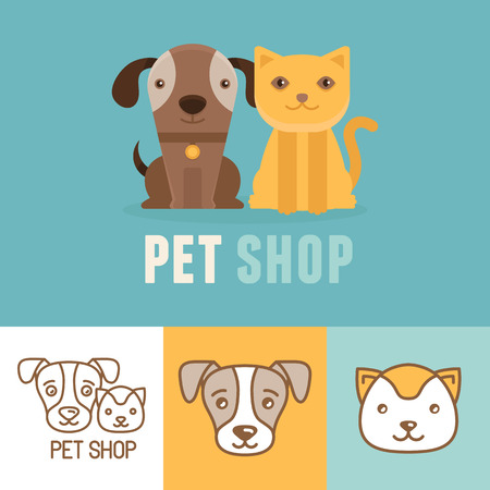 perros graciosos: Vector perro y gato iconos.