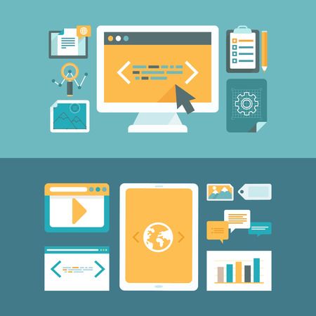 Vector web development and digital content marketing concepts in flat style - icons and illustrations for horizontal website headers Stock Illustratie