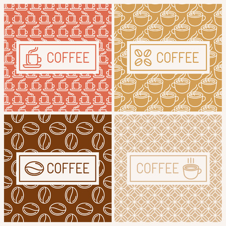 coffee houses: Vector set of linear labels and seamless patterns - design elements for coffee houses
