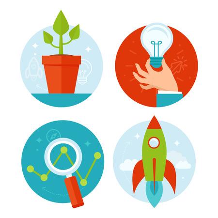 crecimiento personal: Vector conceptos de desarrollo personal y de crecimiento empresarial en estilo plano - elementos de diseño infográficos y los iconos