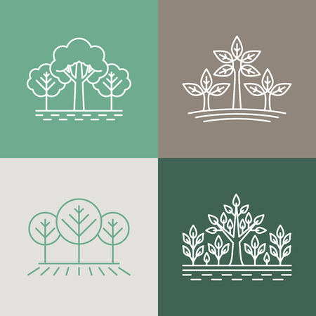 green park: Vector trees and parks logo design elements in linear style - abstract landscapes and nature concepts Illustration