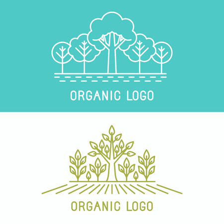 Vector trees and parks  design elements in linear style - abstract landscapes and nature concepts Vector