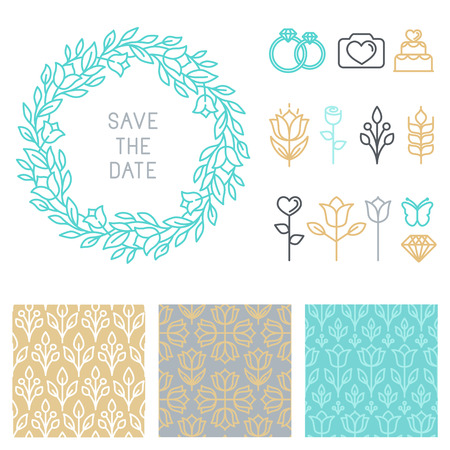 hipster: Vector save the date design template in linear style - icons and seamless patterns for wedding ivitations Illustration