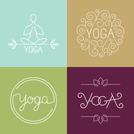 spiritual: Vector linear yoga  - icons and design elements in trendy style for spa center or yoga studio
