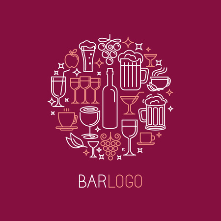 beer party: Vector bar logo in linear style - wine and drinks icons and signs