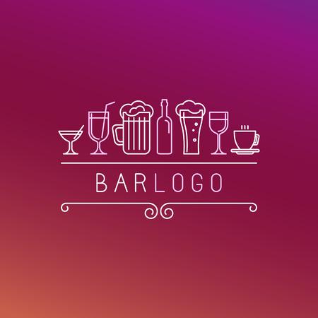 tomando alcohol: Bar vectorial en estilo lineal - Vino y bebidas iconos y signos