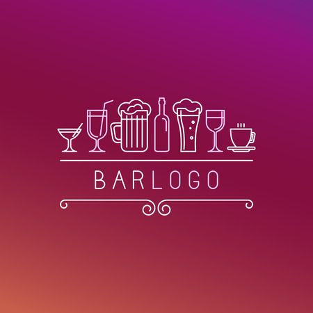 Vector bar in linear style - wine and drinks icons and signs
