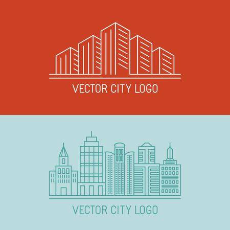 edificios: Vector ciudad conceptos lineales - ilustraciones urbanas - iconos de construcci�n Vectores