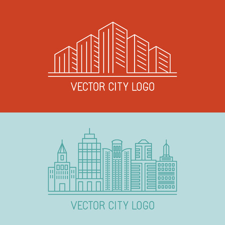 urban landscapes: Vector linear city concepts - urban illustrations - building icons