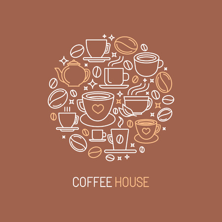 ions: Vector coffee house concept in mono line style - coffee and tea ions and signs
