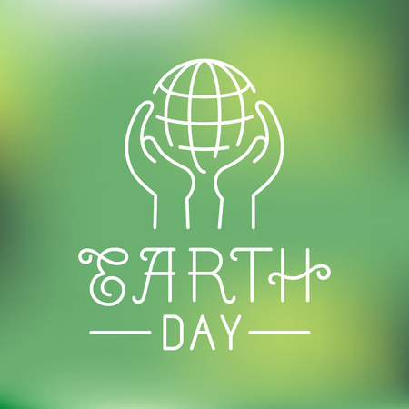 earth day: Vector earth day in linear style - ecology concept - hands protecting planet