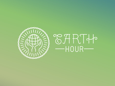 hour hand: Vector earth hour  design in linear style - protect the planet - ecology concept Illustration