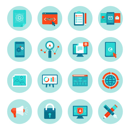 digital data: Vector web development and digital marketing icons in flat style - illustrations and signs on circle background Illustration
