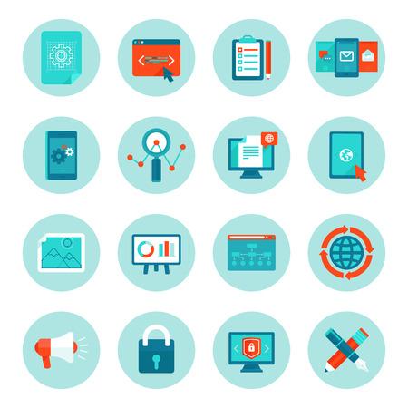 Vector web development en digitale marketing pictogrammen in vlakke stijl - illustraties en borden op cirkel achtergrond