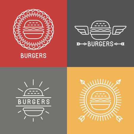 Vector burger logo design elements in linear style - emblems and badges for fast food