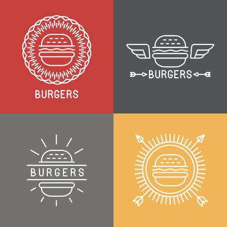 logos restaurantes: Vector hamburguesa logo elementos de dise�o en estilo lineal - emblemas e insignias de la comida r�pida