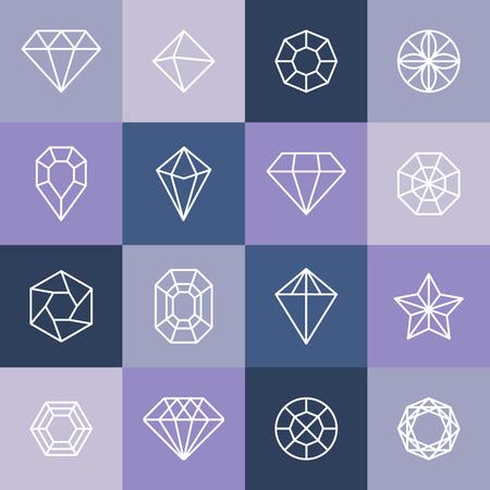 diamond jewelry: Diamanti e gemme Vector lineare icone elementi di design Vettoriali