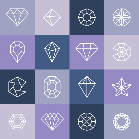 diamond jewelry: Vector diamonds and gems linear icons design elements