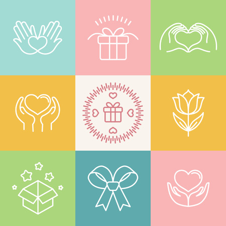 donate: Vector linear gift icons and logos - made with love emblems in outline style