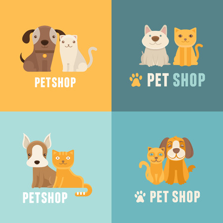Vector pet shop logo design templates in flat cartoon style - friendly cats and dogs Stock Illustratie
