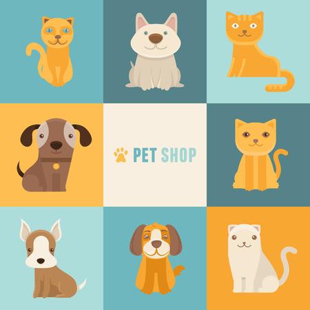 tienda de animales: Vector icono de mascotas tienda de plantillas de dise�o en estilo plano de dibujos animados - los gatos y los perros amistosos