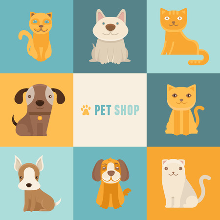 pet store: Vector pet shop icon design templates in flat cartoon style - friendly cats and dogs