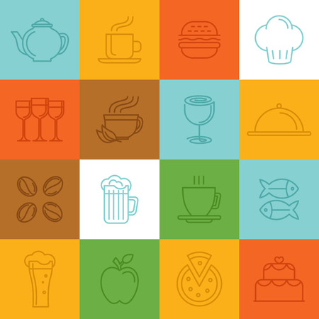 Vector food linear icons and signs - icon design elements for cafes and restaurants Vector