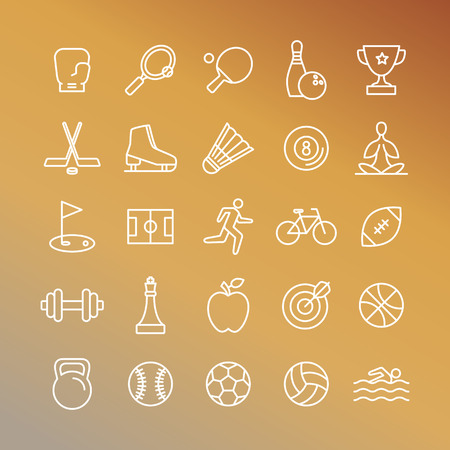 jogging: Vector sport linear icons - set of signs and symbols related to team games and healthy lifestyle