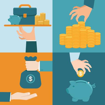 fondos negocios: Vector conjunto de conceptos bancarios de estilo plano - la mano del hombre de negocios con servicio de placa - oferta especial - inversión y el ahorro