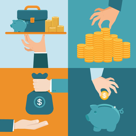 investment: Vector set of banking concepts in flat style - businessmans hand with serve plate - special offer - investment and savings