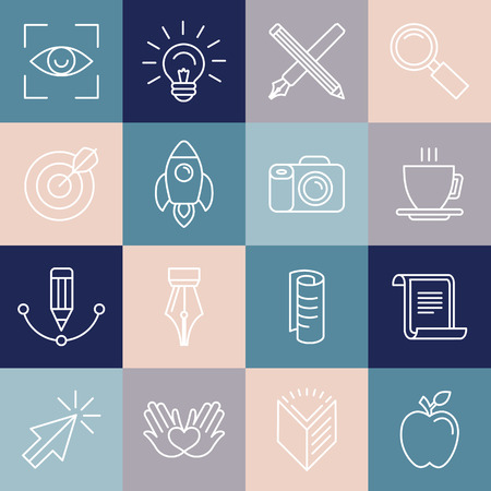 Vector graphic designer icons and badges in linear style - tools and objects