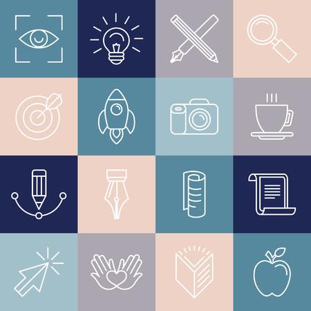 Vektor-Grafik-Designer-Symbole und Abzeichen in linearen Stil - Werkzeuge und Gegenstände Standard-Bild - 37648150