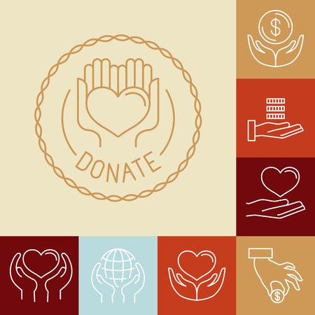 ベクトル チャリティー線アイコンやサイン - ボランティア活動や非利益の組織のアイコン  イラスト・ベクター素材