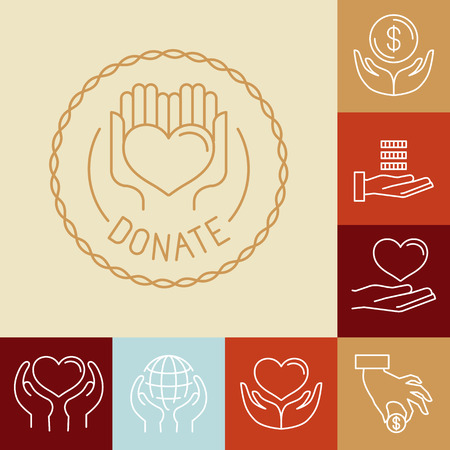donating: Vector charity line icons and signs - volunteer and non profit organization icons